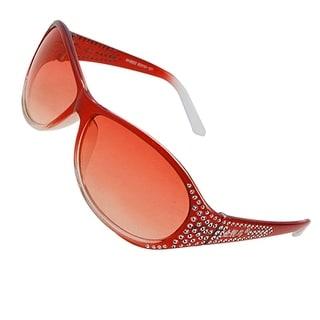 Red Rhinestone Decor Oval Plastic Sunglasses Glasses