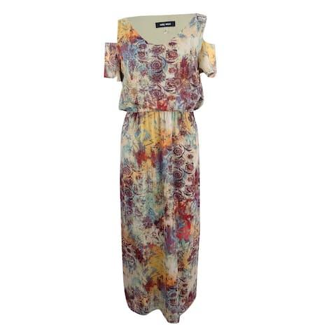 Nine West Women's Printed Cold Shoulder Maxi Dress