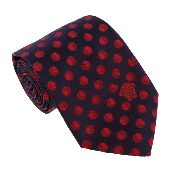Versace Navy Blue/Red Woven Decorative Circle Tie