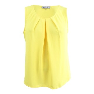 Kasper Women's Plus Size Pleated Shell Top - Daffodil