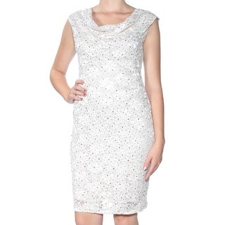 Womens Beige Sequined Lace Cap Sleeve Knee Length Sheath Dress Size: 8