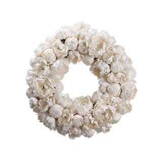 "22"" Diamond Peony Artificial Floral Christmas Wreath - Unlit"
