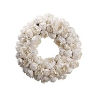 "22"" Diamond Peony Artificial Floral Christmas Wreath - Unlit - WHITE"