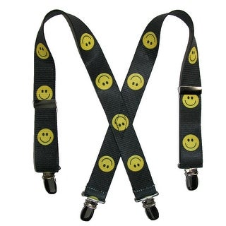 CTM® Infant Elastic 1 Inch Wide Clip-End Smiley Face Pattern Suspenders - smiley face - One Size