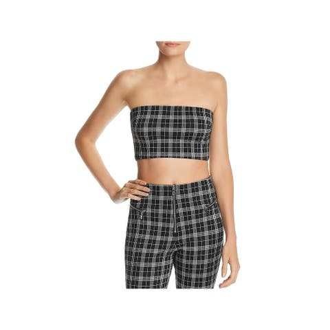 Tiger Mist Womens Crop Top Tube Plaid B/W L
