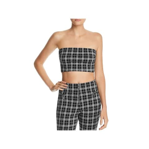 Tiger Mist Womens Crop Top Tube Plaid B/W XS