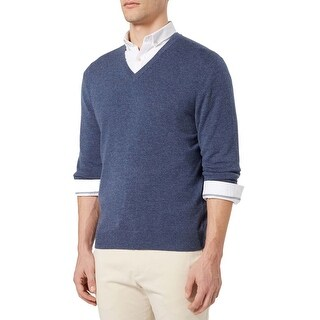 Bloomingdales Mens 2-Ply Cashmere V-Neck Sweater X-Large Dusty Light Blue