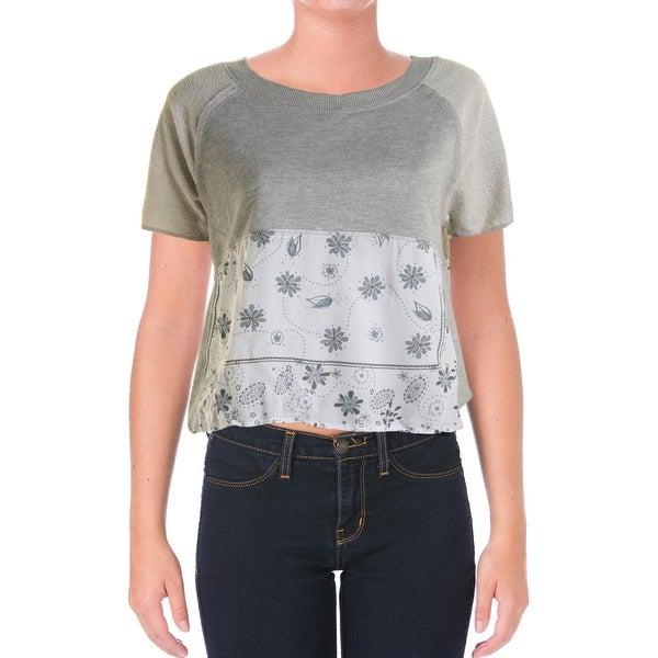 Planet Gold Womens Juniors Crop Top Floral Print Short Sleeves