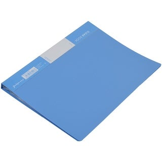 Office Plastic Shell A4 Paper Double Clip Documents File Bag Blue 30 Pockets