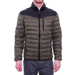 INC International Concepts Men Color-Blocked Packable Puffer Jacket