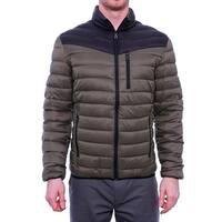 INC International Concepts Color-Blocked Zip Front Puffer Jacket Men Moss Green Coat