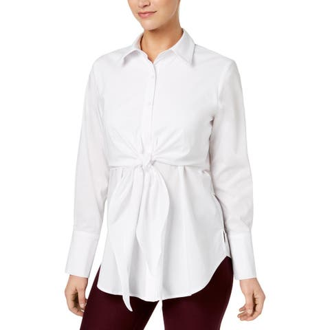 NY Collection Womens Blouse Tie Front Wear to Work