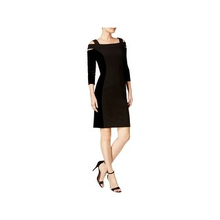 Calvin Klein Womens Scuba Dress Velvet Cold Shoulder
