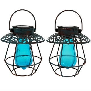 Sunnydaze Patina Solar LED Lantern with Vintage Style Bulb - Set of 2 - Blue