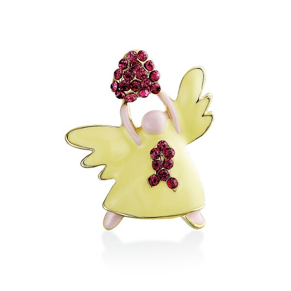 afcb5a2ca22 Shop Breast Cancer Awareness Ribbon Heart Angel Pin Silver Plated - On Sale  - Free Shipping On Orders Over $45 - Overstock - 17986044