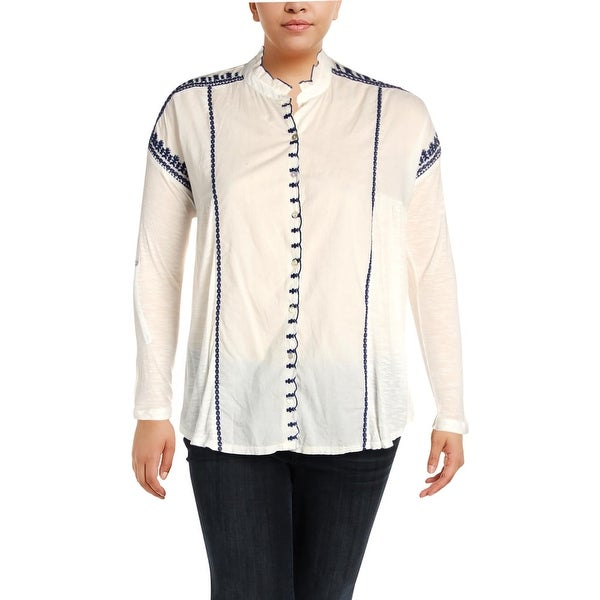 Lucky Brand Womens Plus Peasant Top Ruffled Embroidered