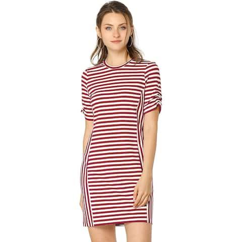 Allegra K Women's Short Shirred Sleeves Striped Mini Dress