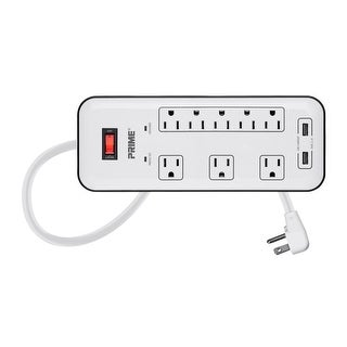 8 Outlet Surge Protector Power Strip with 2 USB Charging Ports 2.1A, Right Angle Plug with 6ft Cord, 2400 Joules, White
