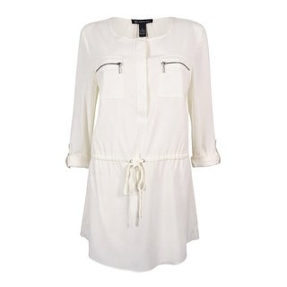 INC International Concepts Women's Drawstring Tunic Top - windsor white