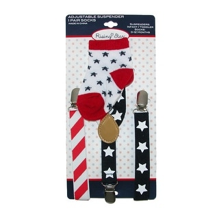 ABG Accessories Infant's Stars and Stripes Suspender and Sock Set - Red - One Size