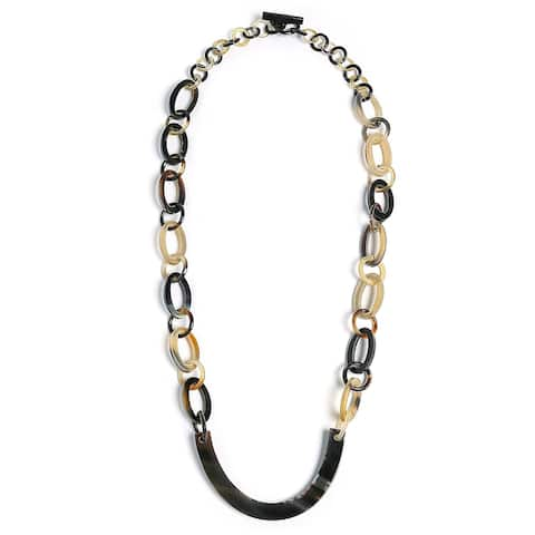 Earth Tone Brown Handmade Buffalo Horn Round Oval Chain Bar Necklace