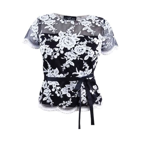 Alex Evenings Women's Embroidered Blouse (L, Black/White) - Black/White - L
