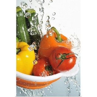 """Vegetables in a orange colander, and water"" Poster Print"
