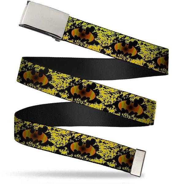 Blank Chrome Buckle Bat Signal Fade Paint Splatter Black Yellow Web Belt