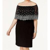 MSK Black Womens Size 3X Plus Embellished Off Shoulder Sheath Dress