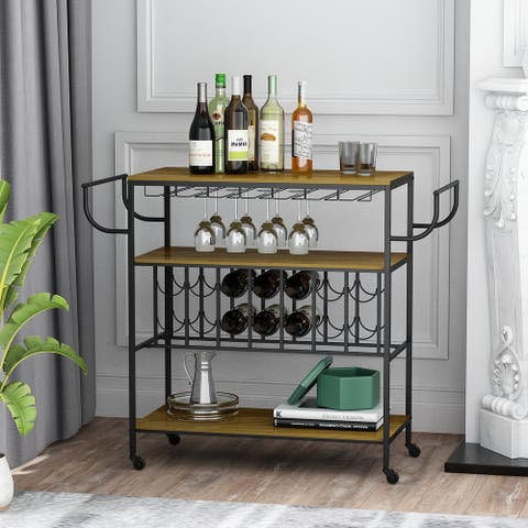 Mobile 3-Tier Industrial Bar Cart With Wine Rack And Glass Holder