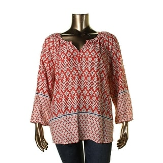Beach Lunch Lounge Womens Plus Rayon Printed Blouse