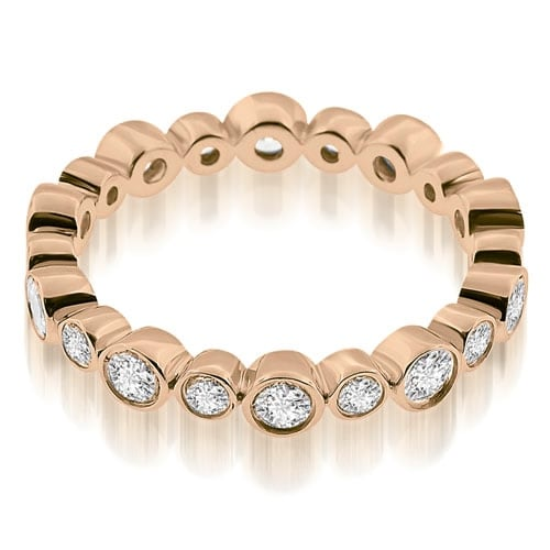 0.75 cttw. 14K Rose Gold Stylish Bezel Set Round Cut Diamond Eternity Ring