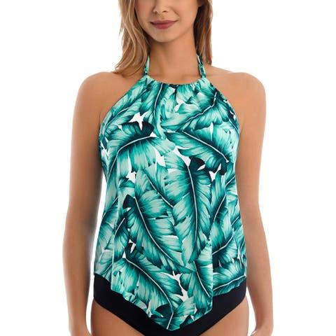 Magicsuit by Miraclesuit Womens Nicole Botanical Halter Tankini Swim Top - Green