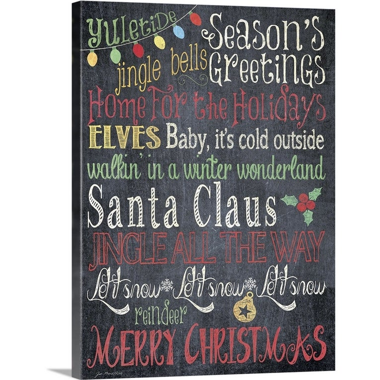 Season S Greetings Canvas Wall Art Overstock 16892167 Includes Hardware Christmas 18 X 24