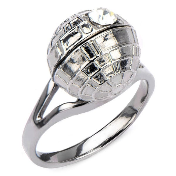 Star Wars Womens 3D Death Star Stainless Steel Ring - Silver