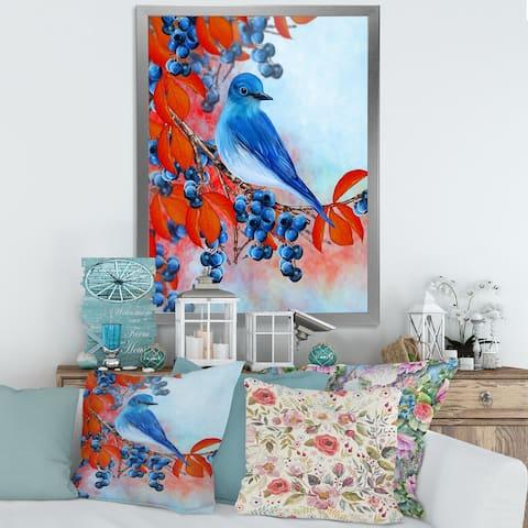Designart 'Bright Bird Bullfinch Sitting on A Branch III' Traditional Framed Art Print