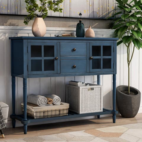 Sideboard Console Table Antique Navy Wood/Glass Buffet Storage Cabinet - Antique Navy - N/A