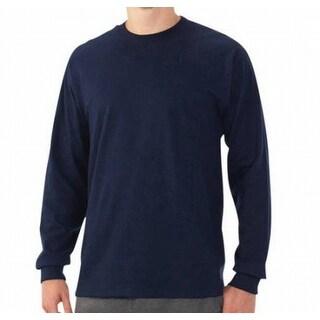 Fruit of the Loom NEW Blue Men Size Large L Crewneck Long-Sleeve Tee T-Shirt 806