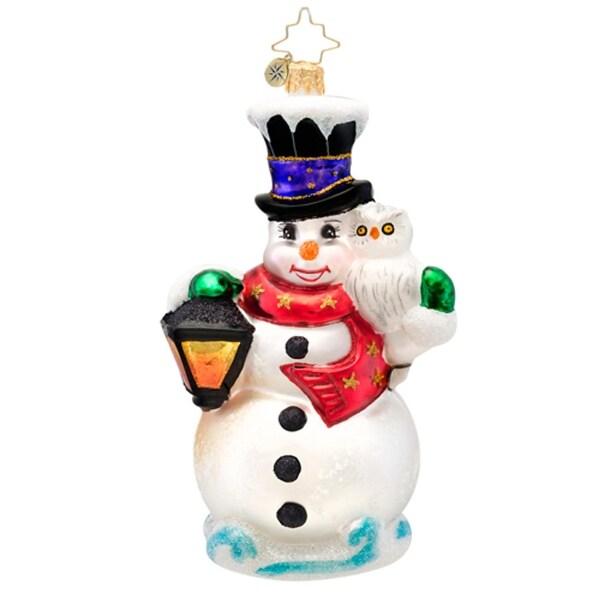 Christopher Radko Glass Frosty Midnight Meeting Snowman Christmas Ornament #1017169 - WHITE