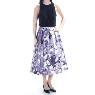 Womens Purple Floral Sleeveless Tea-Length Fit + Flare Prom Dress Size: 14