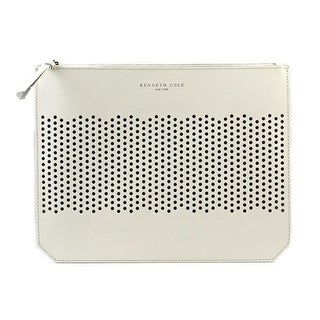 Kenneth Cole NY Caton Ave Flat Clutch Women Leather Clutch - White