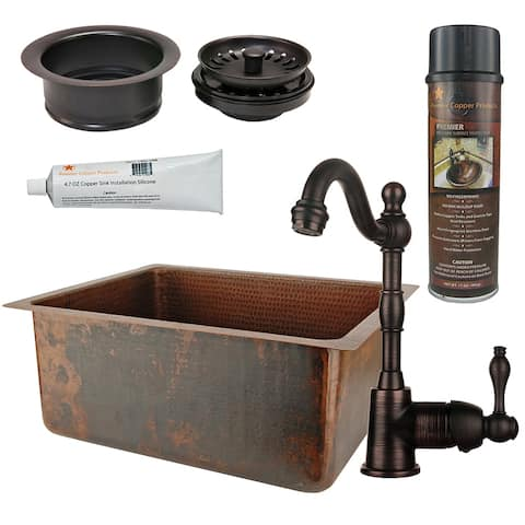 Premier Copper Products BSP4_BREC20DB-G Bar Sink, Faucet and Garbage Disposal Drain Package