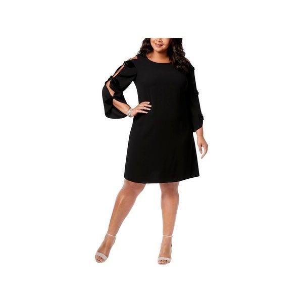 MSK Women Womens Plus Cocktail Dress Velvet Bow Long Sleeves