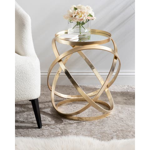 Kate and Laurel Marea Gold Metal Mirrored Round Accent Side Table