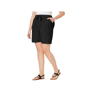 Karen Scott Womens Plus Lisa Casual Shorts Comfort Waist Drawstring - Deep Black (3 options available)
