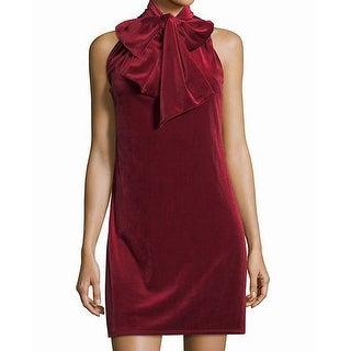 Laundry By Shelli Segal Red Womens 2 Velvet Tie-Neck Shift Dress