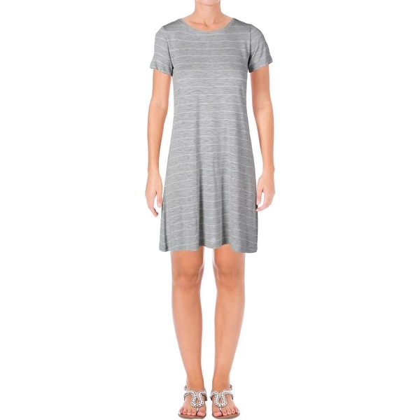 9cadcdc19ffe Shop Two by Vince Camuto Womens T-Shirt Dress Striped Slub Gray L - Free  Shipping On Orders Over $45 - Overstock - 22485998