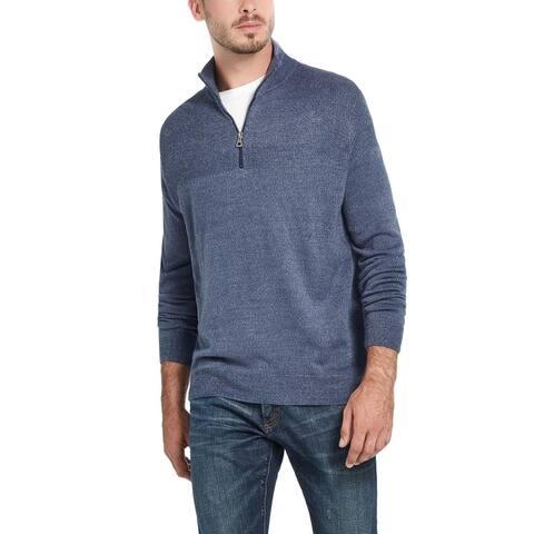 Weatherproof Vintage Men's Soft Touch Quarter-Zip Sweater Blue Size Small