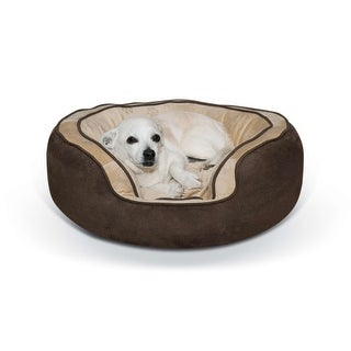 "K&H Pet Products Round n' Plush Bolster Dog Bed Small Chocolate/Tan 20"" x 25"" x 8"""