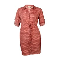Maison Jules Women's Belted Roll-Tab Printed Shirtdress - dusty cedar combo
